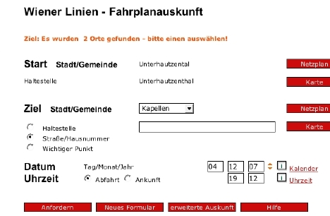 wiener linien usability Fahrplanauskunft