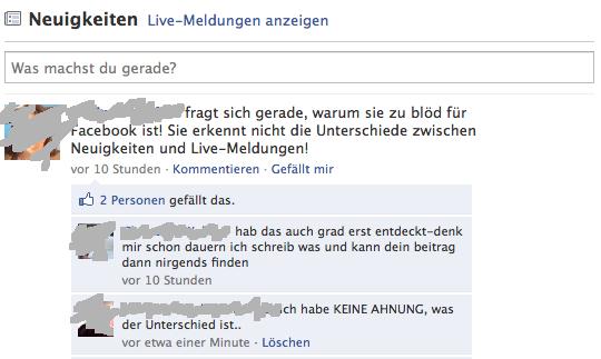Unterhaltung über Facebook in Facebook - User schreibt, dass er den Unterschied zwischen Neuigkeiten und Live-Nachrichten nicht versteht