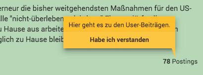 """Ein Tooltip verdeckt den eigentlichen Text. Inhalt ist """"Hier geht es zu den User-Beiträgen"""" und in einer 2. Zeile: """"Habe ich verstanden"""" - ein klickbarer Link."""