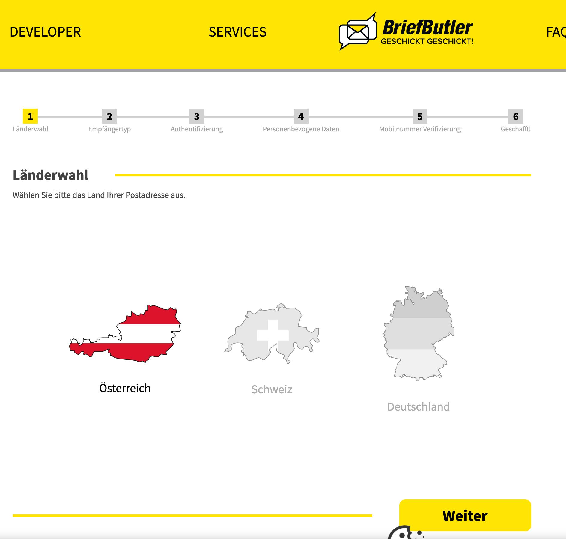 Screenshot der Länderauswahl auf briefbutler.at
